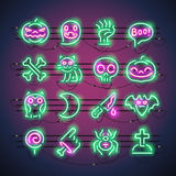 Halloween-Neon-Ikonen Lizenzfreies Stockbild