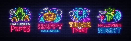 Halloween neon sign collection vector. Halloween Party Design template and web for banner, poster, greeting card, party. Invitation, light banner. Isolated royalty free illustration
