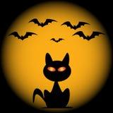 Halloween nietoperze i kota wektor ilustracji