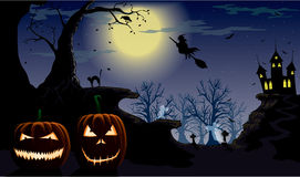 Halloween night. Spooky pumkins on the night of Halloween Stock Photo