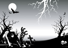 Halloween night. Vector illustration of halloween Cemetery night Stock Photos