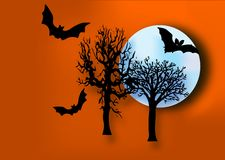 Halloween Night. Spookie night with bats,trees and moon Royalty Free Stock Images