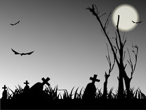 Halloween night. Background with  bat and tree Royalty Free Stock Images