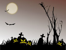 Halloween night. Background with pumpkin bat and tree Stock Photos