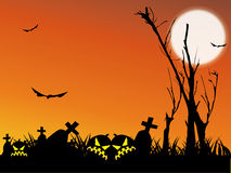 Halloween night. Background with pumpkin bat and tree Stock Images