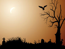 Halloween night. Background with bird and tree Stock Photo