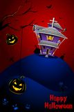 Halloween Night. Illustration of haunted house with halloween pumpkin in scary dark night Stock Illustration