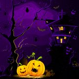 Halloween Night. Illustration of haunted house with halloween pumpkin in scary dark night Vector Illustration