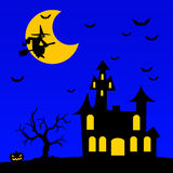 Halloween night. With castle, pumpkin, witch and bats Stock Photo