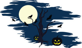 Halloween night. Night, full moon, around a dead tree lying Stock Images