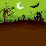 Halloween Night. Illustration of abandoned haunted house in halloween night Royalty Free Stock Photography