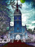 Halloween night. Surreal image  of the church on the night of Halloween Royalty Free Stock Photo