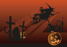 Halloween night. Halloween background with witch, bat and pumpkin, vector illustration Stock Photos