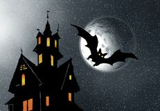 Halloween. Night. Moon, castle and bats. Abstraction illustration Royalty Free Stock Photo
