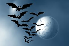 Halloween. Night. Moon and bats. Abstraction illustration Royalty Free Stock Photography