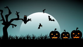 Halloween night. An animated loopable Halloween night illustration with moon, pumpkin, owl and flying bats stock video footage