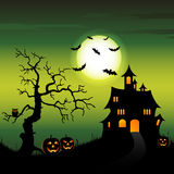 Halloween night backdrop with castle and pumpkins Stock Image