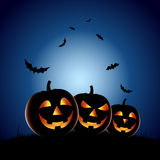 Halloween night backdrop with pumpkins Royalty Free Stock Photos