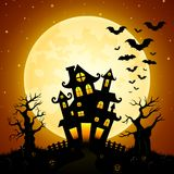 Halloween night background with castle, bats, trees and full moon Royalty Free Stock Photos