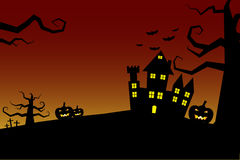Halloween night background castle with bloody sky Stock Photos