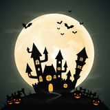 Halloween night background with the castle and full moon Royalty Free Stock Photo