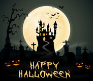 Halloween night background with castle and graveyard Royalty Free Stock Photo