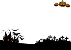 Halloween night background with castle and pumpkins. And graveyard Royalty Free Stock Image
