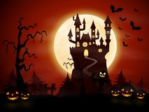 Halloween night background with castle and pumpkins. Illustration of Halloween night background with castle and pumpkins stock illustration