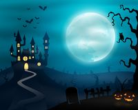 Halloween night background with castle and pumpkins Stock Image