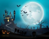 Halloween night background with castle and pumpkins. Illustration of Halloween night background with castle and pumpkins royalty free illustration