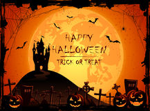 Halloween night background with castle and pumpkins Royalty Free Stock Photography