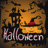 Halloween night background with castle and scary pumpkins.  Stock Image