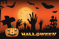 Halloween night background with castle and scary pumpkins Stock Images