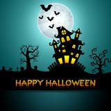 Halloween night background with castle, trees and bats Royalty Free Stock Photography
