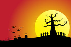Halloween night background cemetery with full moon bloody sky Stock Photos