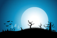 Halloween night background cemetery with white full moon Stock Photos
