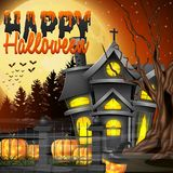 Halloween night background with church and scary pumpkins Royalty Free Stock Photography