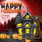 Halloween night background with church and scary pumpkins Royalty Free Stock Image