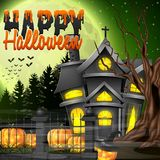 Halloween night background with church and scary pumpkins Stock Images