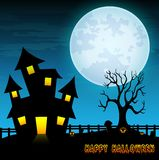 Halloween night background with creepy castle and dry tree in graveyard Royalty Free Stock Photography