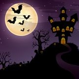 Halloween night background with creepy castle and graveyard Royalty Free Stock Photography