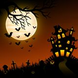 Halloween night background with creepy castle and graveyard Royalty Free Stock Photo