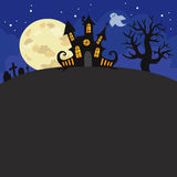 Halloween night background with creepy castle illustration. Stock Images