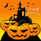 Halloween. Night background with creepy castle and pumpkins, illustration Royalty Free Stock Image