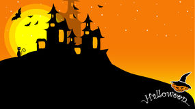Halloween. Night background with creepy castle and pumpkins, illustration Stock Photos