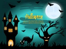 Halloween night background with creepy house, scare tree and cat Stock Photo