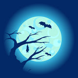 Halloween night background with dry tree and bats vector illustration Stock Photography