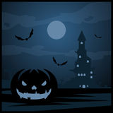 Halloween night background and evil pumpkin. Halloween night vector background and evil pumpkin Royalty Free Stock Images