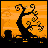 Halloween night background and evil pumpkin Stock Image