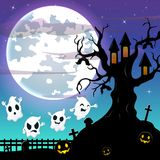 Halloween night background with flying ghost and bats hanging on scary tree house Royalty Free Stock Images